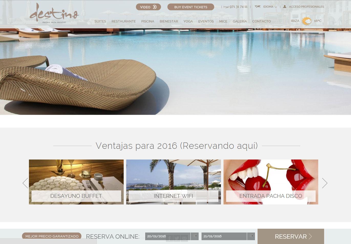 Diseño web hotel Destino