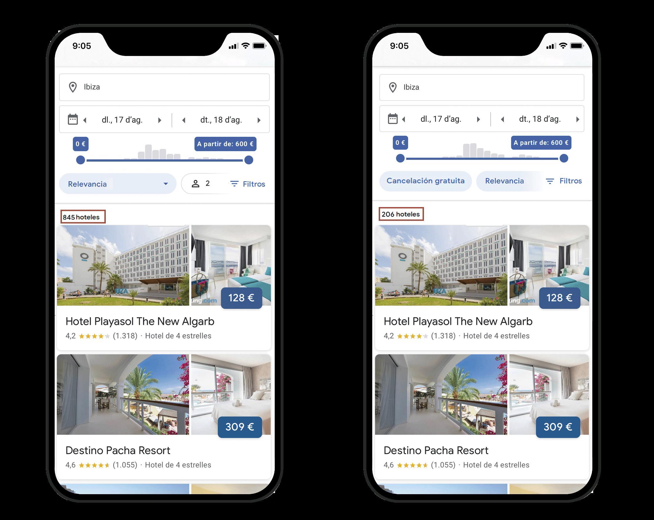 Google Hotel Ads filtro de cancelación