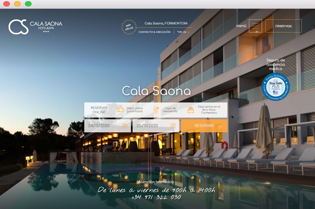 Reservar Cala Saona diseño web