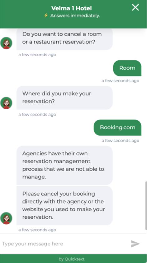 Quicktext chatbot reserva OTA