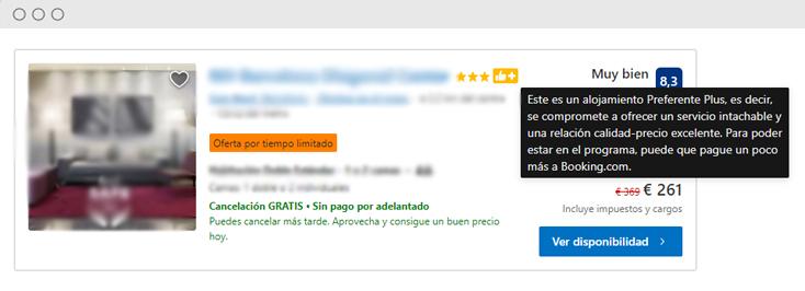 Booking.com preferente Plus